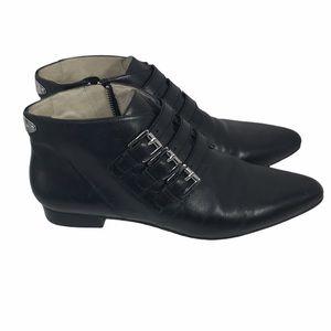 Michael Kors leather buckle booties